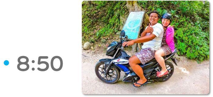 バイクでツマログ滝へ 8:50